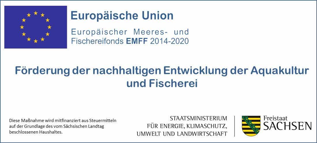 Logo von der europäischen Union zur Förderung der nachhaltigen Entwicklung der Aquakultur und Fischerei